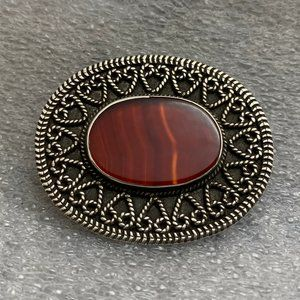 Jewelry - .925 Oval Red Agate Slide Pendant